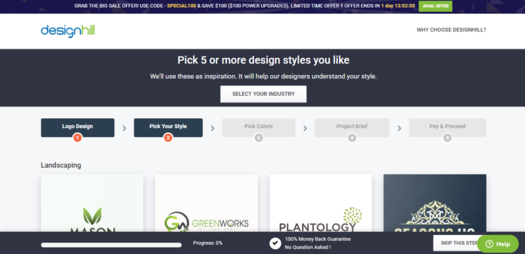Pick 5 or more design styles you like.